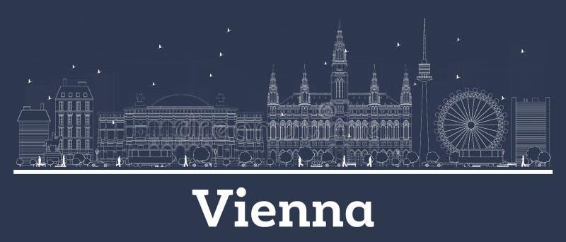 Горизонт города Австрии Вены плана с белыми зданиями иллюстрация штока