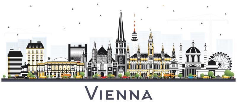Горизонт города Австрии вены при здания цвета изолированные на Whi бесплатная иллюстрация