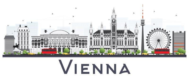 Горизонт города Австрии вены при серые здания изолированные на Whit иллюстрация штока