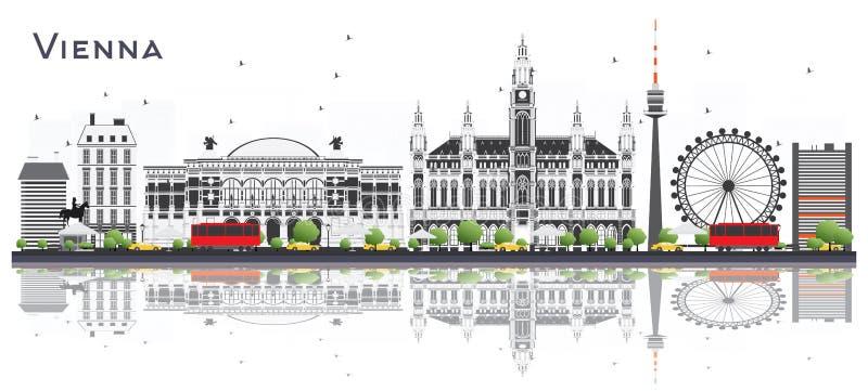 Горизонт города Австрии вены с зданиями и отражениями цвета иллюстрация вектора