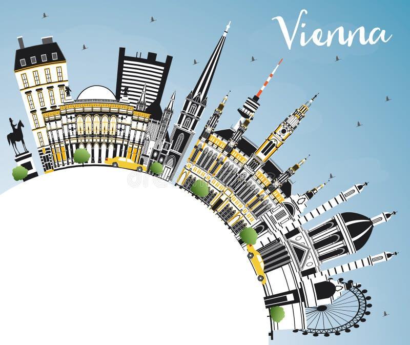 Горизонт города Австрии вены с зданиями цвета, голубым небом и космосом экземпляра иллюстрация вектора