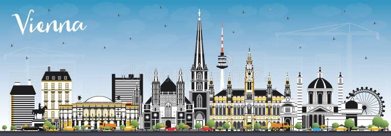 Горизонт города Австрии вены с зданиями цвета и голубым небом иллюстрация штока