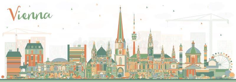 Горизонт города Австрии вены с зданиями цвета бесплатная иллюстрация