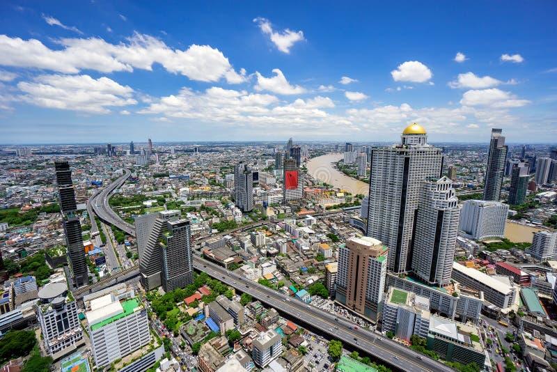 Горизонт города Бангкока вида с воздуха городской Таиланда, Cityscap стоковое фото rf