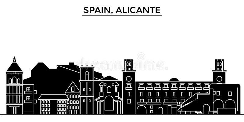 Горизонт города вектора архитектуры Испании, Аликанте, городской пейзаж перемещения с ориентир ориентирами, зданиями, изолировал  иллюстрация штока