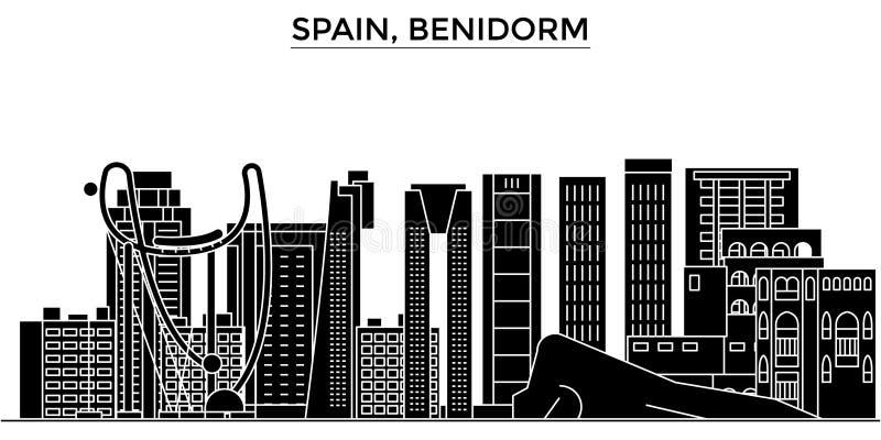 Горизонт города вектора архитектуры Испании, Benidorm, городской пейзаж перемещения с ориентир ориентирами, зданиями, изолировал  иллюстрация штока