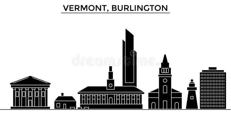 Горизонт города вектора архитектуры США, Вермонта, Burlington, городской пейзаж перемещения с ориентир ориентирами, зданиями, изо бесплатная иллюстрация