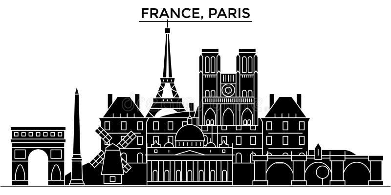 Горизонт города вектора архитектуры Франции, Иль-де-Франс, Парижа, городской пейзаж перемещения с ориентир ориентирами, изолирова иллюстрация штока