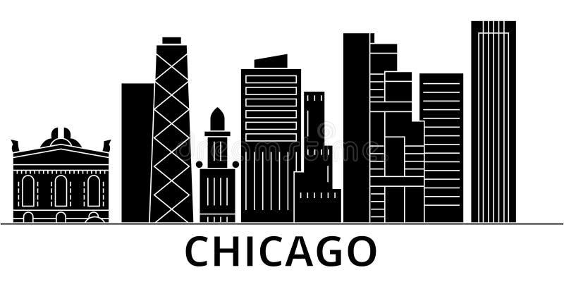 Горизонт города вектора архитектуры Чикаго, городской пейзаж перемещения с ориентир ориентирами, зданиями, изолировал визирования бесплатная иллюстрация