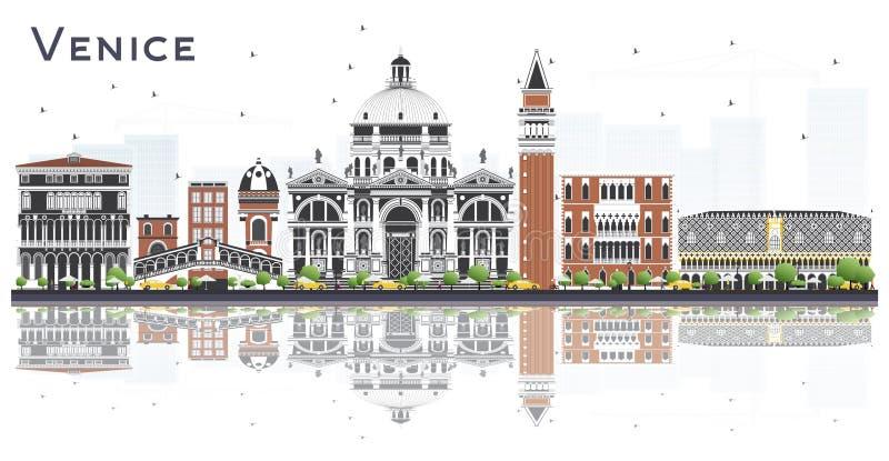 Горизонт города Венеции Италии со зданиями цвета и отражения изолированный на белизне иллюстрация вектора