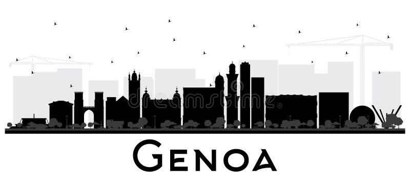 Горизонт города Генуи Италии при черные здания изолированные на белизне иллюстрация штока