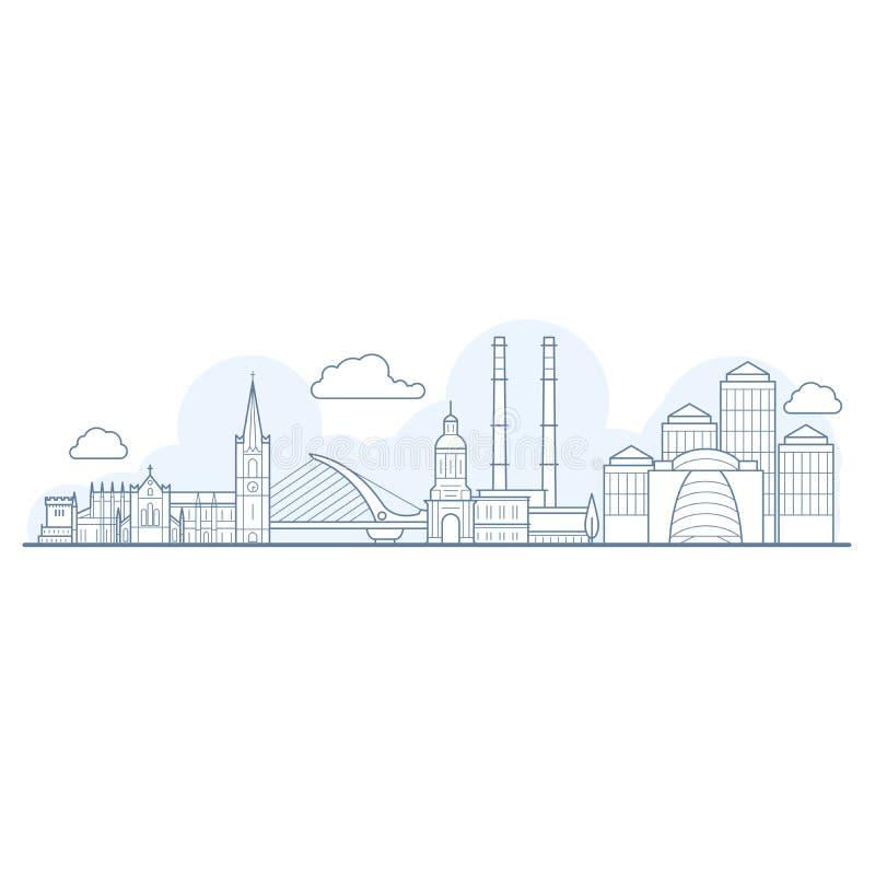 Горизонт города Дублина - городской пейзаж с ориентир ориентирами иллюстрация вектора