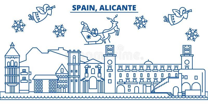 Горизонт города зимы Испании, Аликанте С Рождеством Христовым, счастливый бесплатная иллюстрация