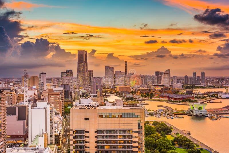 Горизонт города Иокогама, Японии стоковое фото rf