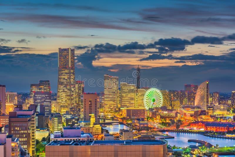 Горизонт города Иокогама, Японии стоковые фото