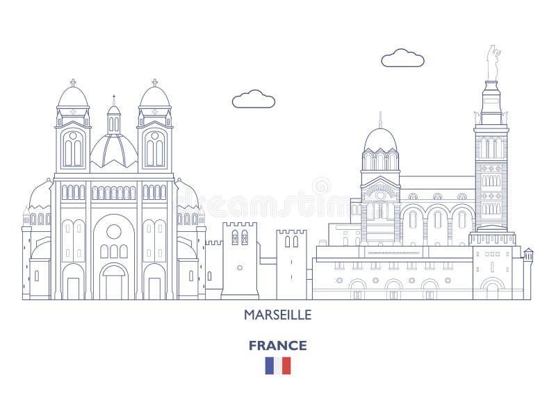 Горизонт города марселя, Франция иллюстрация штока