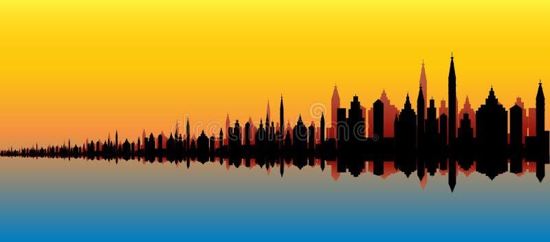 горизонт города морской бесплатная иллюстрация