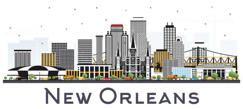 Горизонт города Нового Орлеана Луизианы при серые изолированные здания иллюстрация штока