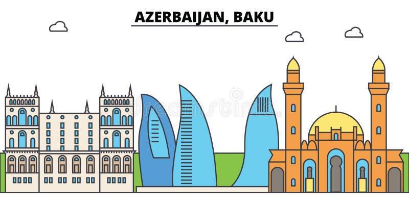 Горизонт города плана Азербайджана, Баку, линейная иллюстрация, знамя, ориентир ориентир перемещения, силуэт зданий, вектор иллюстрация штока