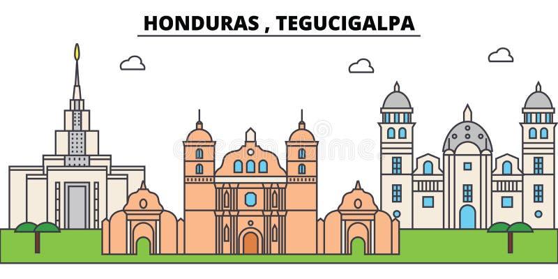 Горизонт города плана Гондураса, Тегусигальпы, линейная иллюстрация, знамя, ориентир ориентир перемещения, силуэт зданий, вектор иллюстрация штока