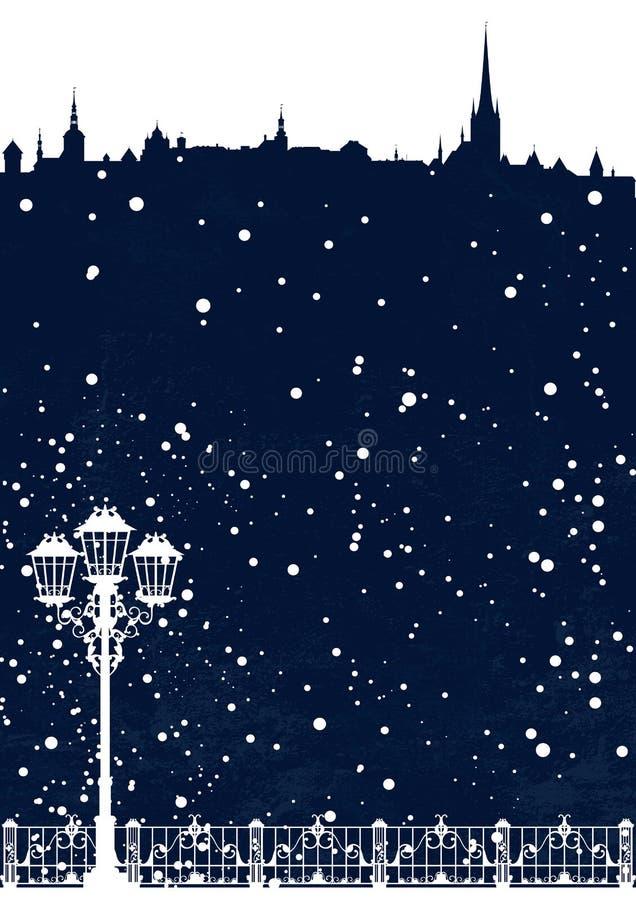 Горизонт города сезона зимы с падая предпосылкой вектора снега иллюстрация штока