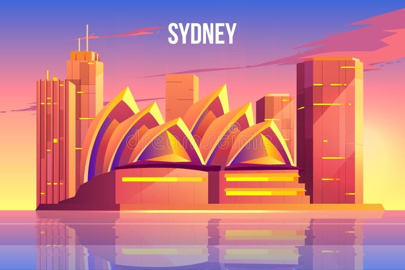 Горизонт города Сиднея, символ мира Австралии известный иллюстрация штока