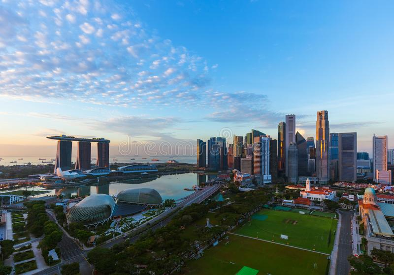 Горизонт города Сингапура стоковое фото rf