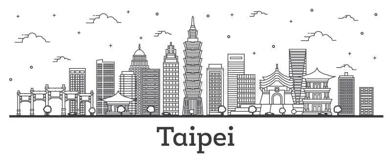 Горизонт города Тайбэя Тайваня плана с современными зданиями изолированными на белизне бесплатная иллюстрация