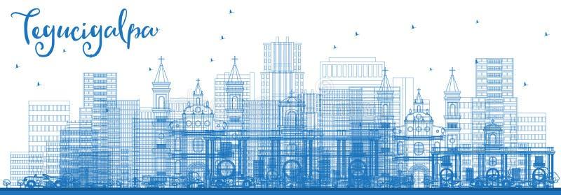 Горизонт города Тегусигальпы Гондураса плана с голубыми зданиями бесплатная иллюстрация