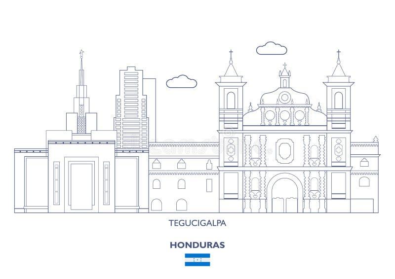 Горизонт города Тегусигальпы, Гондурас иллюстрация вектора
