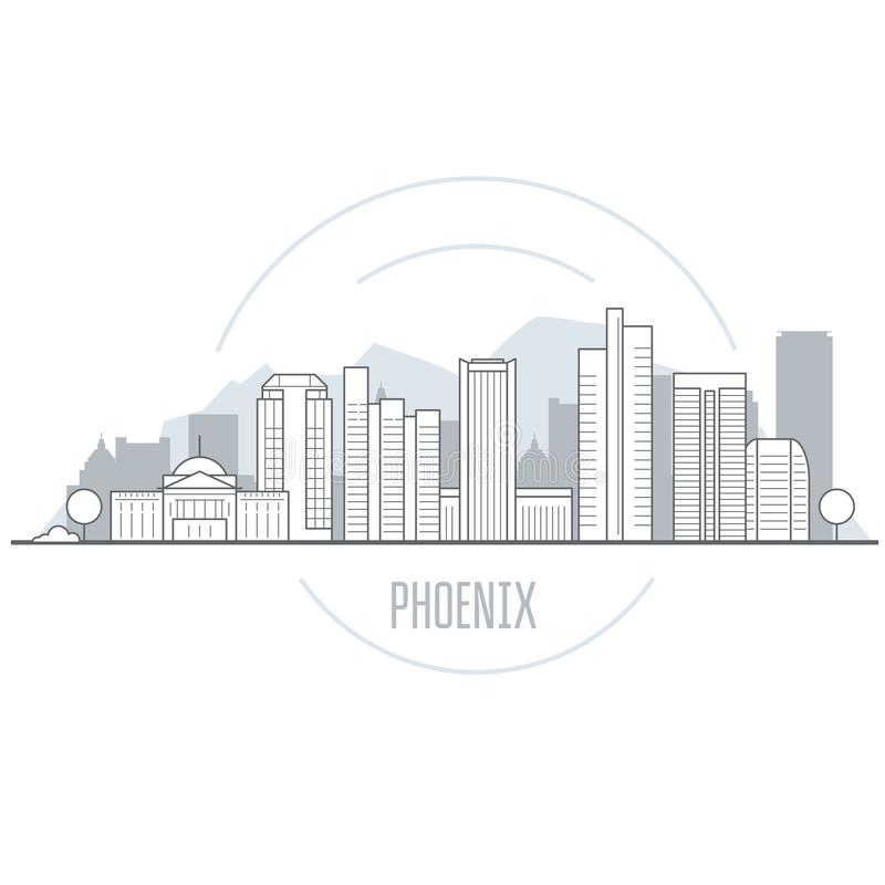 Горизонт города Феникса - городской пейзаж Аризоны иллюстрация штока