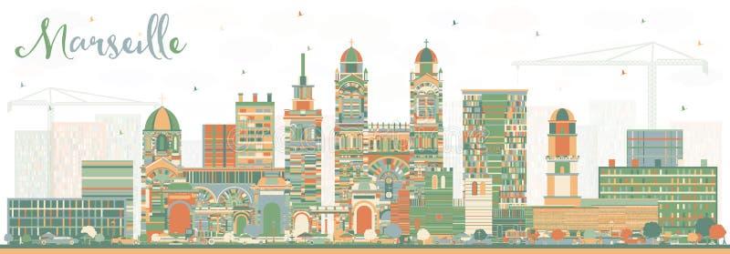 Горизонт города Франции марселя с зданиями цвета бесплатная иллюстрация