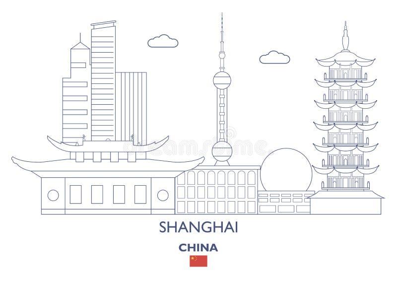 Горизонт города Шанхая, Китай иллюстрация штока