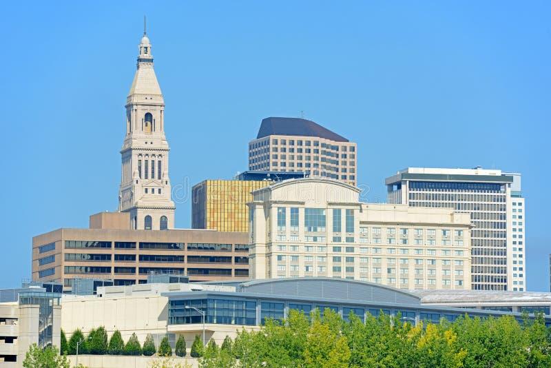 Горизонт города Hartford современный, Коннектикут, США стоковое изображение rf