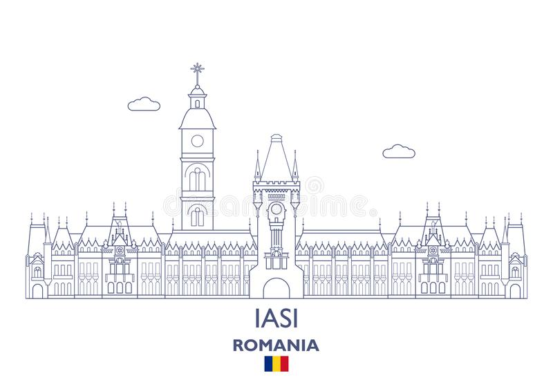 Горизонт города Iasi, Румыния иллюстрация вектора
