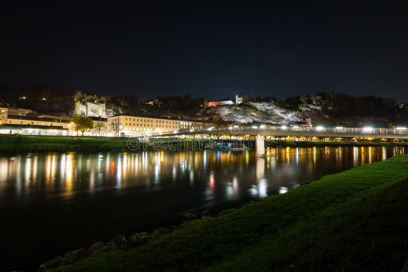Горизонт городского пейзажа Зальцбурга с целью музея современная эпоха Mönchsberg стоковое фото rf