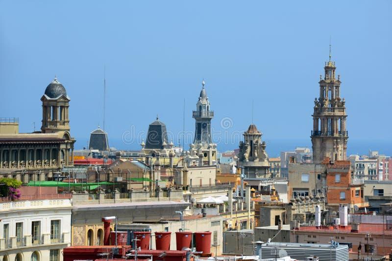 Горизонт города Барселоны старый, Барселона, Испания стоковое фото rf