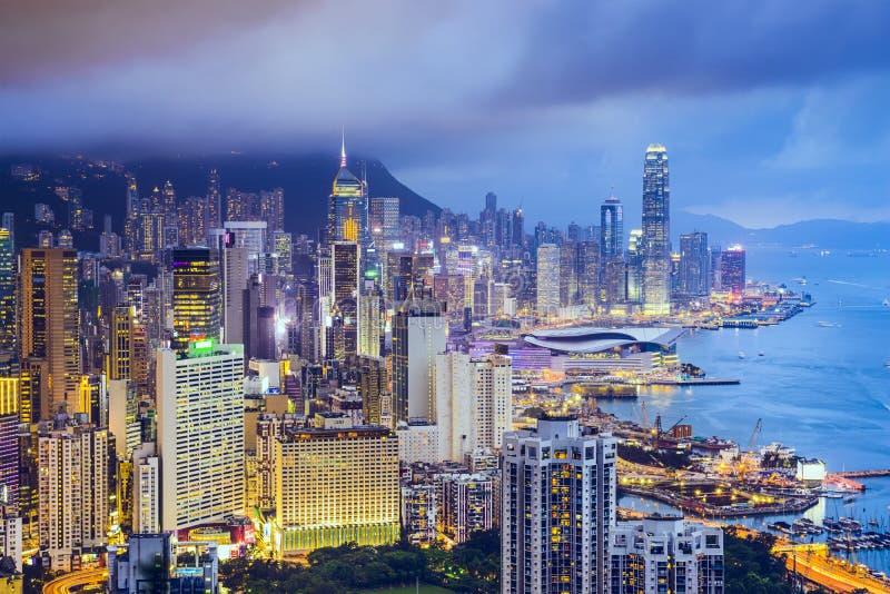 Горизонт города Гонконга Китая стоковое фото