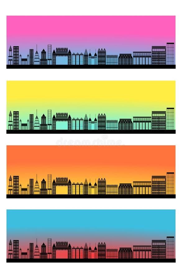 Горизонт города знамени заголовка сети установленный иллюстрация вектора