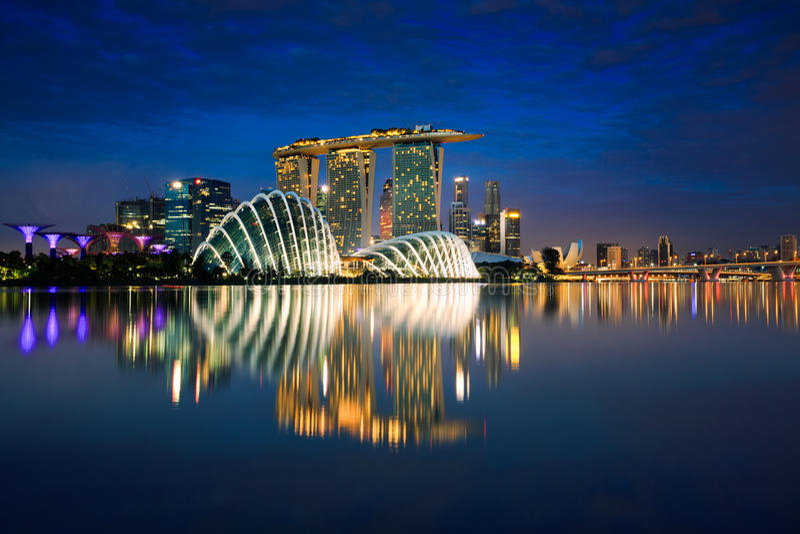 Горизонт города Сингапура стоковые изображения rf