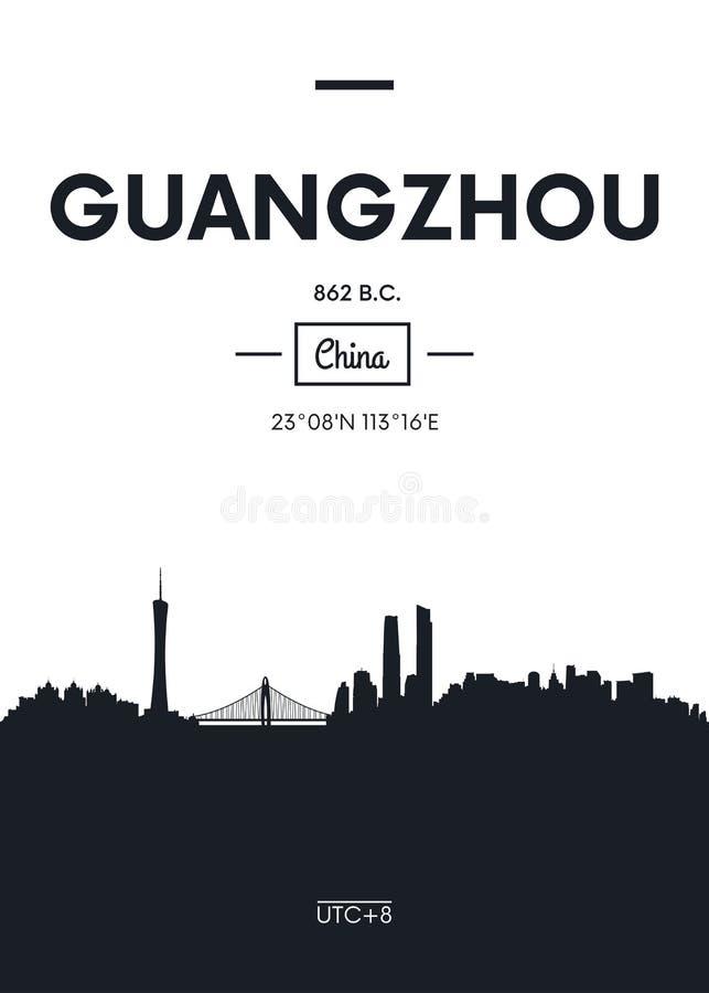 Горизонт Гуанчжоу города плаката, плоская иллюстрация вектора стиля иллюстрация штока