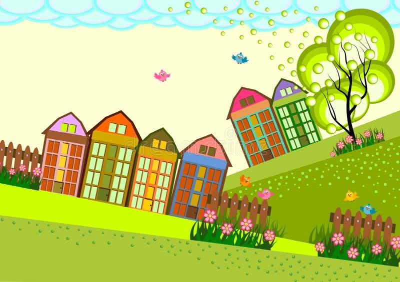 Горизонт деревни маленького города иллюстрация штока