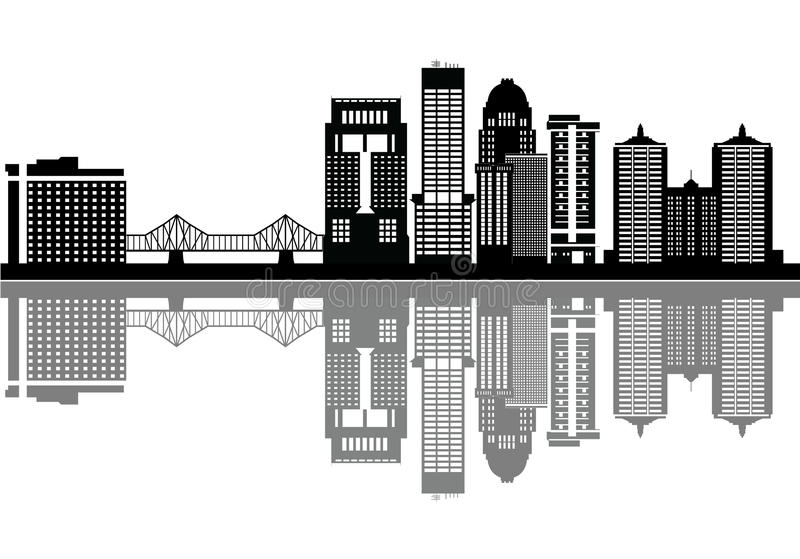 Горизонт детали Луисвилла с мостом бесплатная иллюстрация