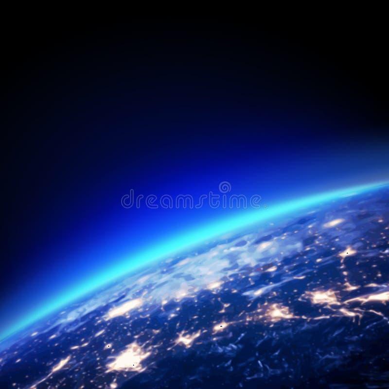 Горизонт земли и света от космоса, вектора иллюстрация штока