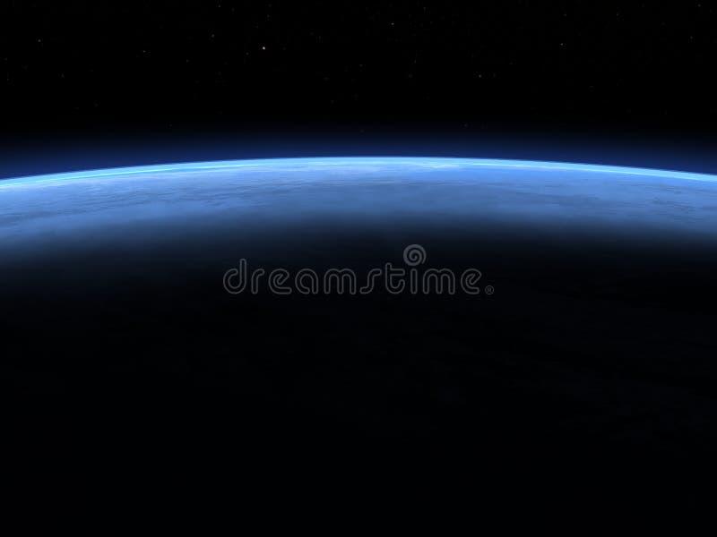 Горизонт земли планеты в космосе - 3D представляют иллюстрация штока