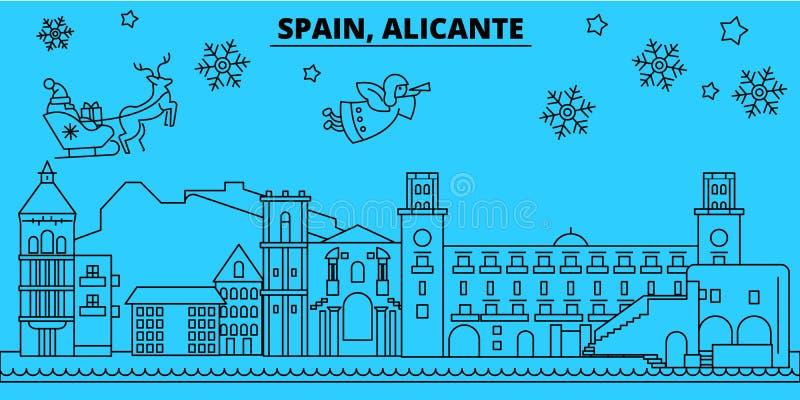 Горизонт зимних отдыхов Испании, Аликанте С Рождеством Христовым, счастливый Новый Год украсил знамя с Санта Клаусом Испания бесплатная иллюстрация