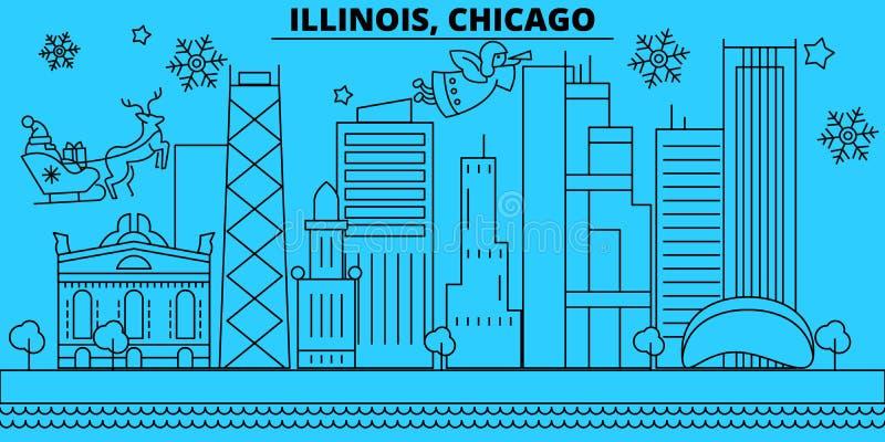 Горизонт зимних отдыхов Соединенных Штатов, Чикаго С Рождеством Христовым, счастливый Новый Год украсил знамя с Санта Клаусом сое иллюстрация штока
