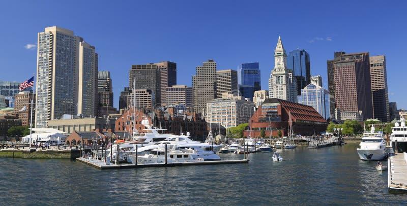 Горизонт и гавань Бостона стоковое фото rf