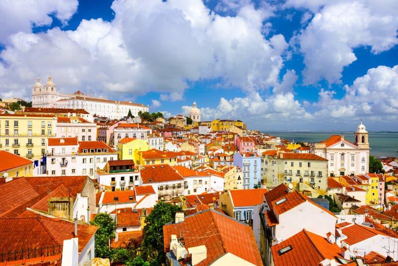Горизонт Лиссабона, Португалии исторический стоковые изображения