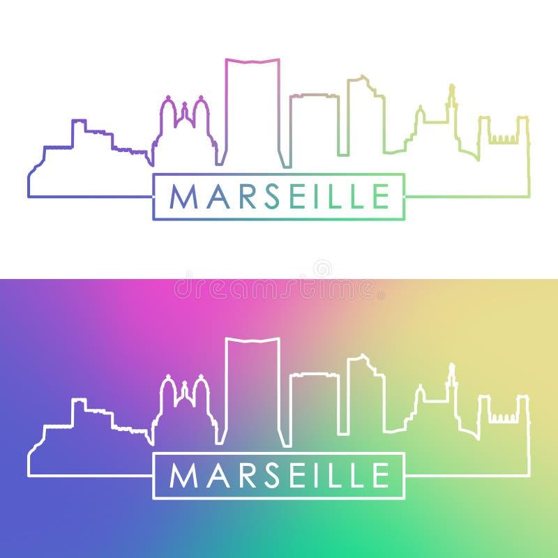Горизонт марселя Красочный линейный стиль бесплатная иллюстрация